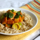 Roasted Sweet Potatoes & Leeks in a Curry Coconut Sauce