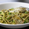 Pea-Almond Pesto with Artichokes & Spaghetti