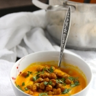 Carrot & Parsnip Soup with Crispy Curried Chickpeas