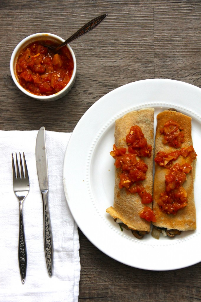 Spinach & Mushroom Crepes with Balsamic Tomato Jam- Emma's Little Kitchen