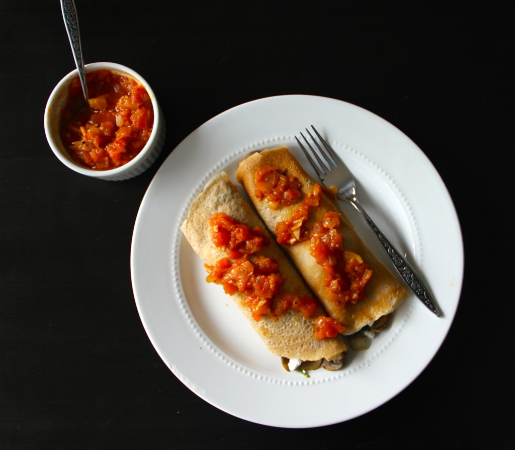 pinach & Mushroom Crepes with Balsamic Tomato Jam- Emma's Little Kitchen