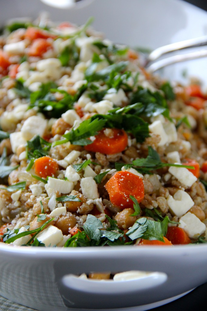Cumin-Roasted Carrots with Farro, Chickpeas & Feta