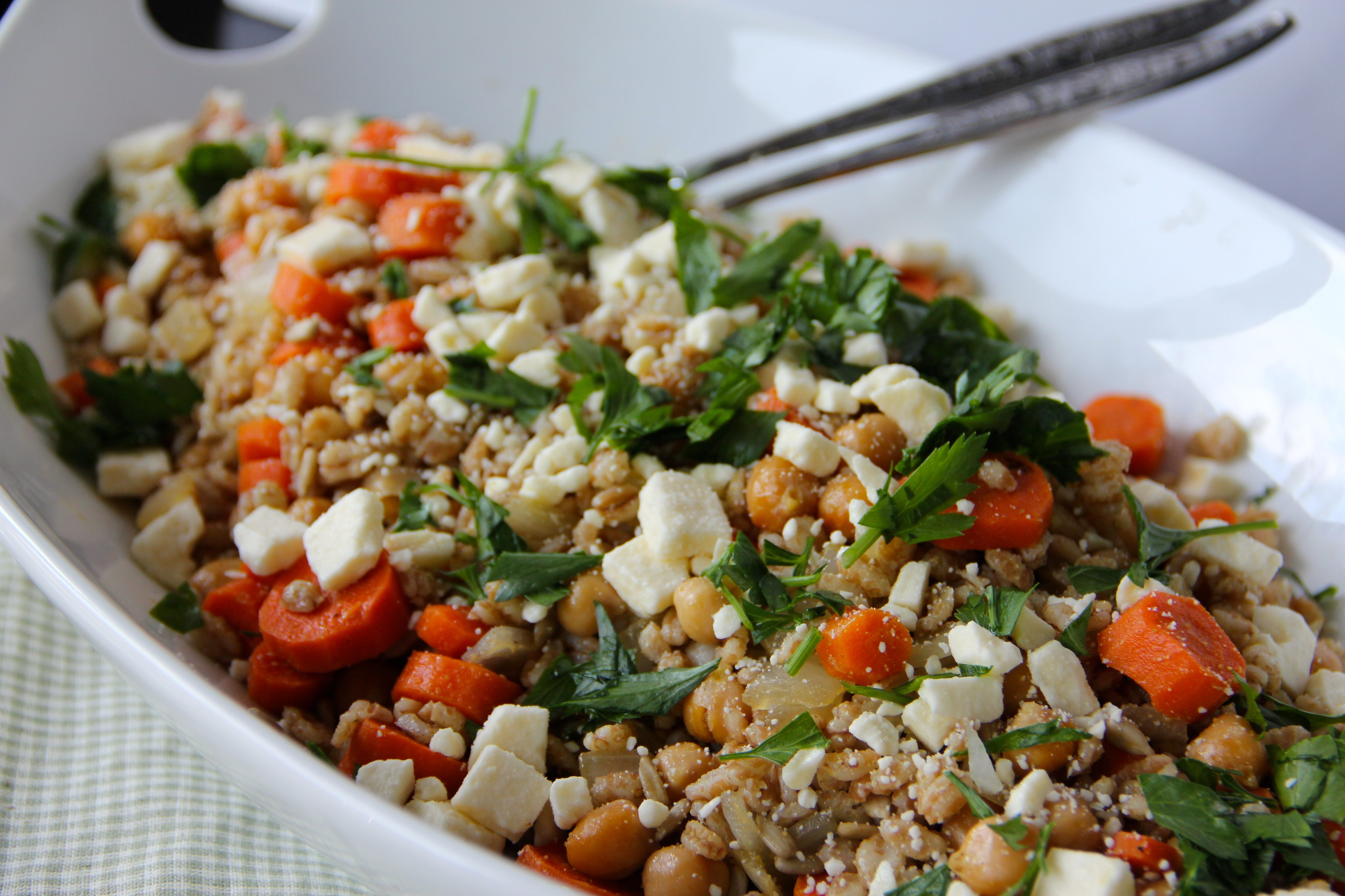 Cumin-Roasted Carrots with Farro, Chickpeas & Feta- Emma's Little ...