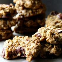 Flourless Peanut Butter Oat Cookies with Dark Chocolate and Sea Salt
