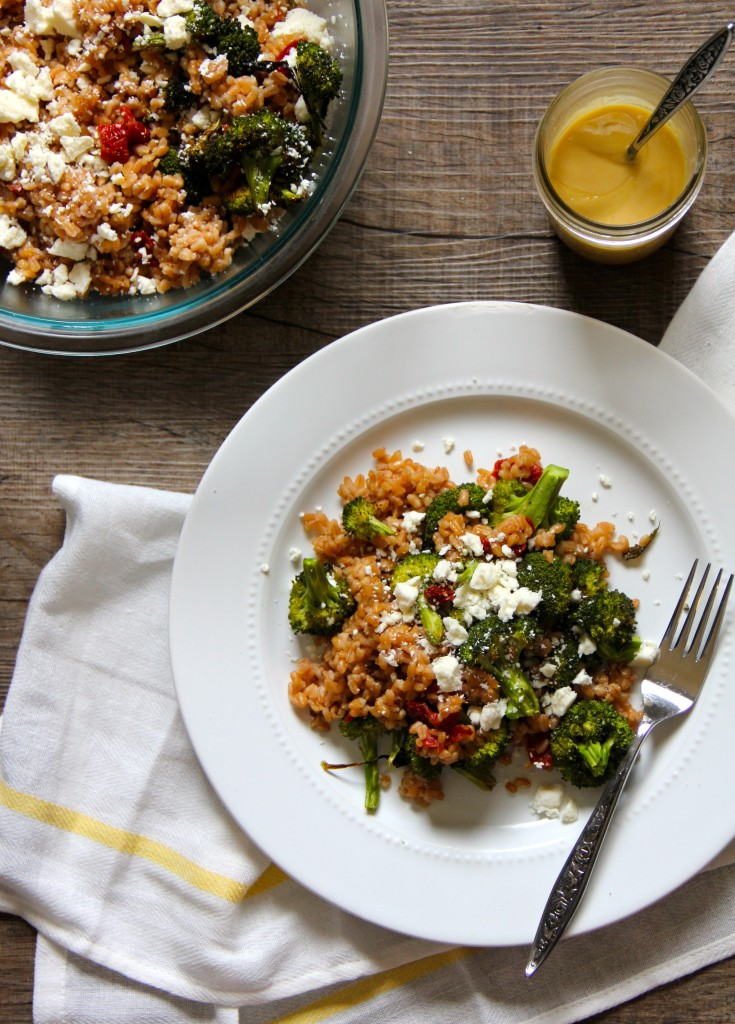 Roasted Broccoli, Sun Dried Tomatoes, Farro, Feta and Tahini