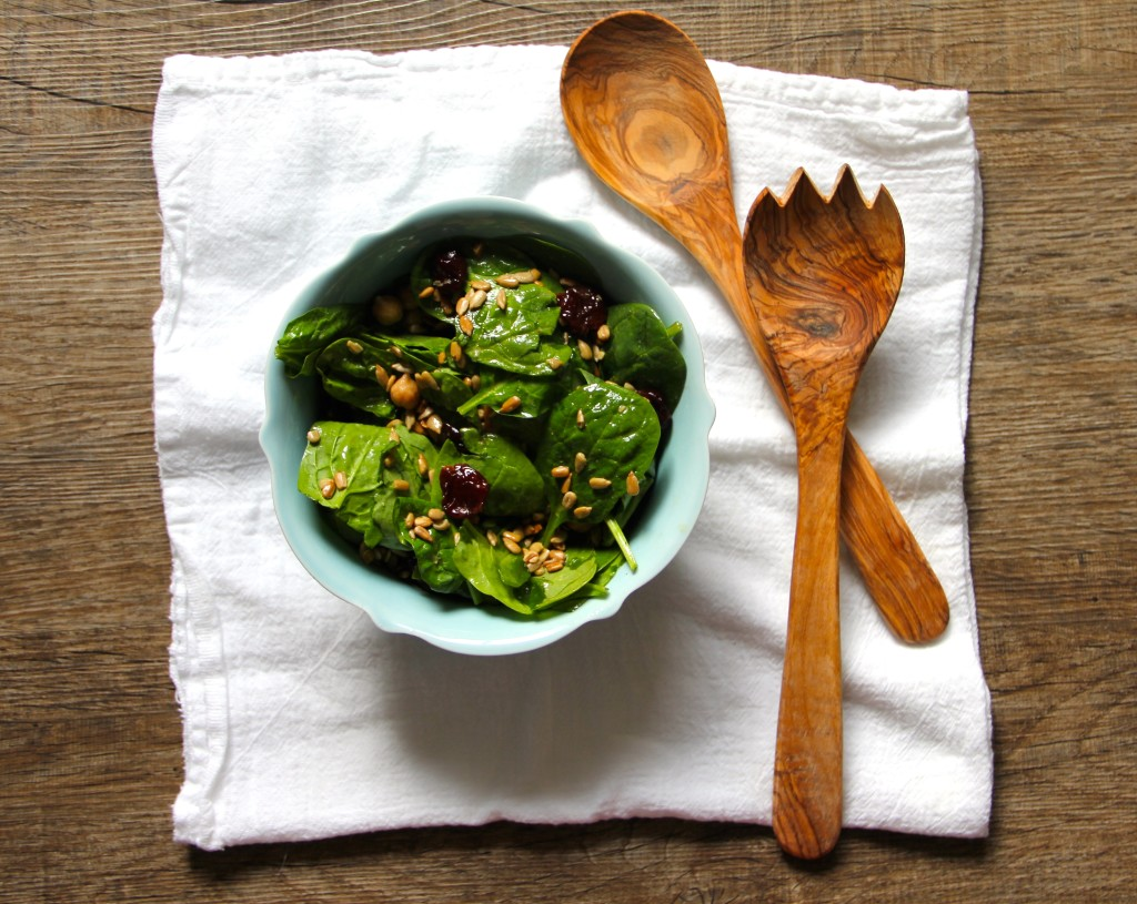 Spinach Chickpea Cherry Salad- Emmas Little Kitchen