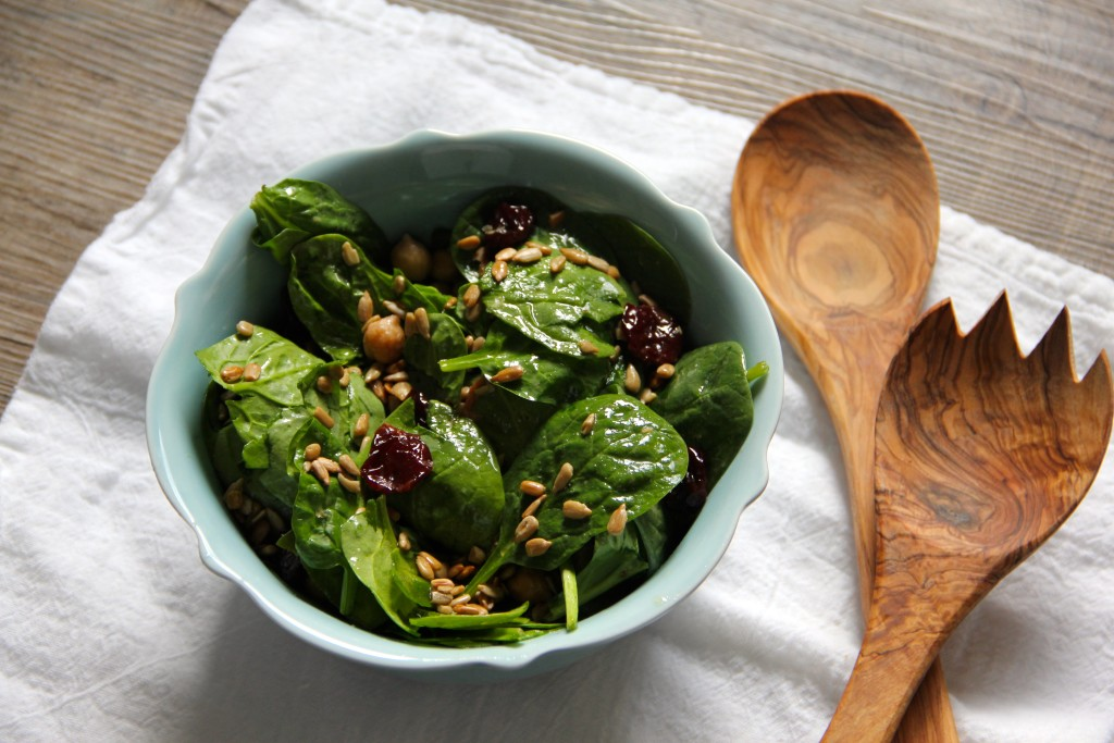 Spinach Chickpea Cherry Salad- Emma's Little Kitchen
