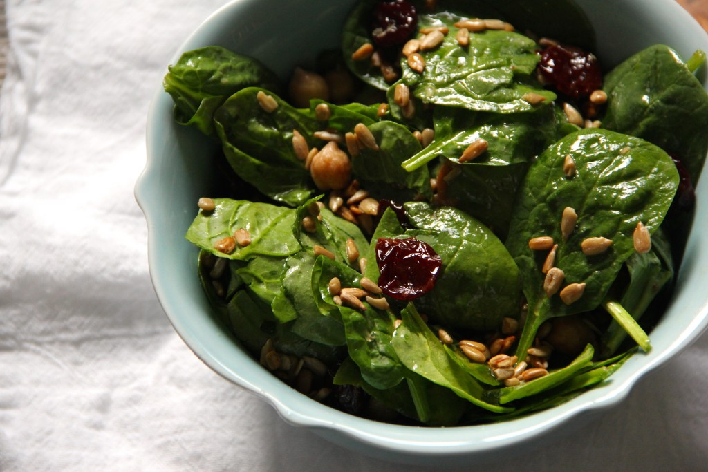 Spinach Chickpea Cherry Salad- Emmas Little KIitchen