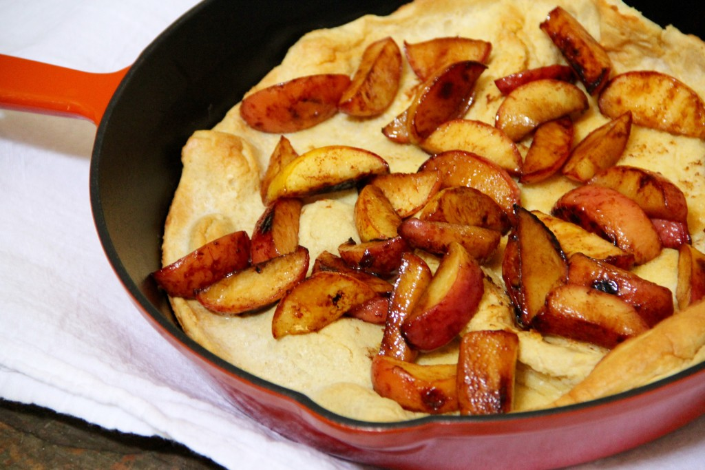 Whole Wheat Dutch Baby with Maple Peaches- Emma's Little Kitchen