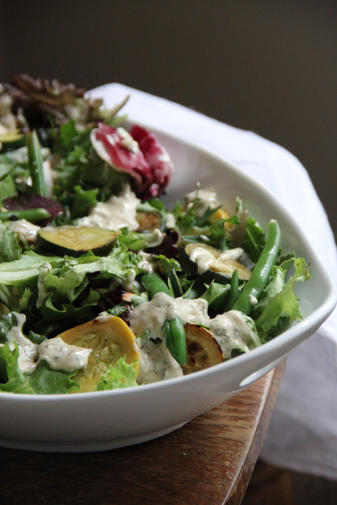 Courgette & Green Bean Salad with Tahini Mint Dressing- Emma's Little Kitchen