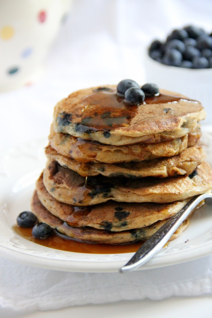 Whole Wheat Greek Yoghurt Blueberry Pancakes- Emma's Little Kitchen