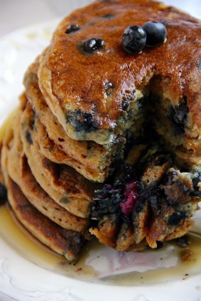 Whole Wheat Greek Yoghurt Blueberry Pancakes