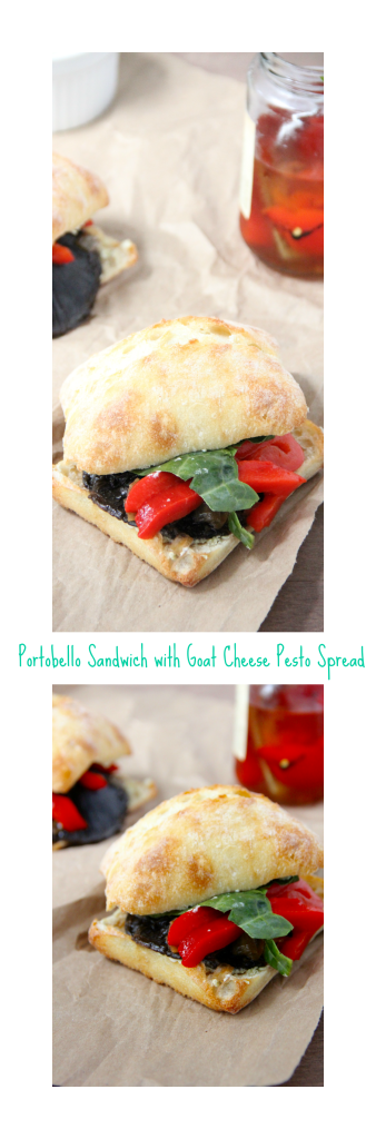 Portobello Sandwich with Goat Cheese Pesto Spread