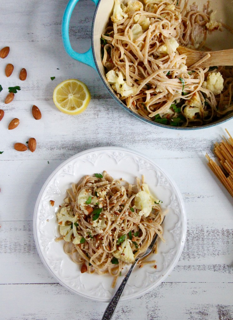 Linguine with Roasted Cauliflower, Lemon and Yoghurt- Emma's Little Kitchen