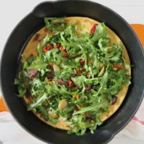 Socca Topped with Greens